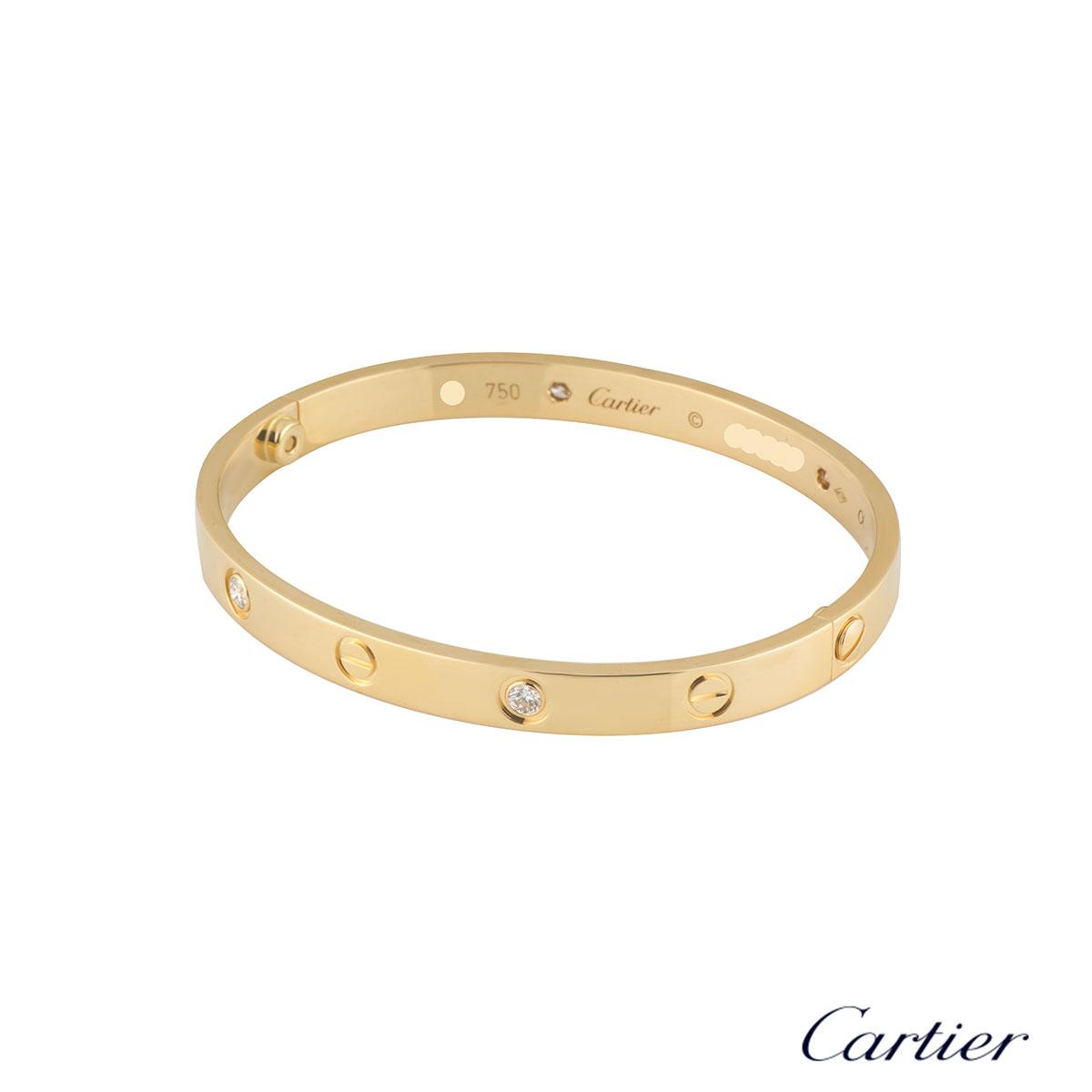 Cartier Yellow Gold Half Diamond Love Bracelet Size 18B6035918